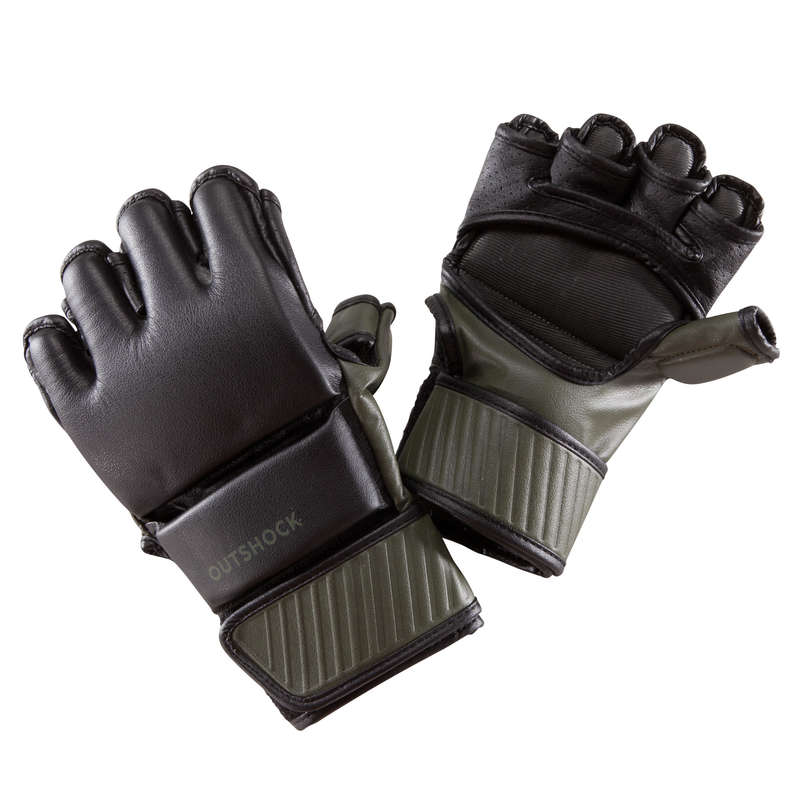 BOXING GLOVES Boxing - Combat Mitts 100 - Black/Khaki OUTSHOCK - Boxing