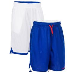 Omkeerbare basketbalshort voor halfgevorderde jongens/meisjes blauw wit