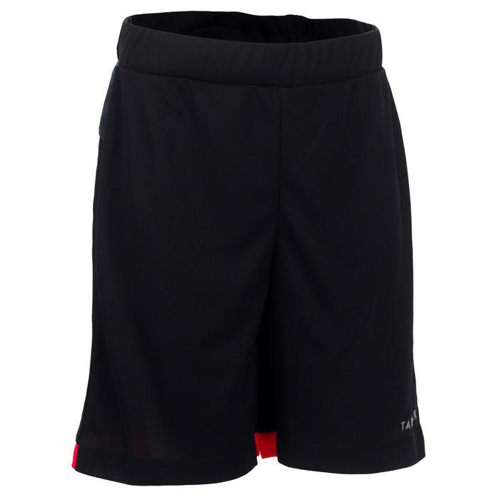 Basketbalshort B500 voor halfgevorderde jongens/meisjes zwart digital grijs
