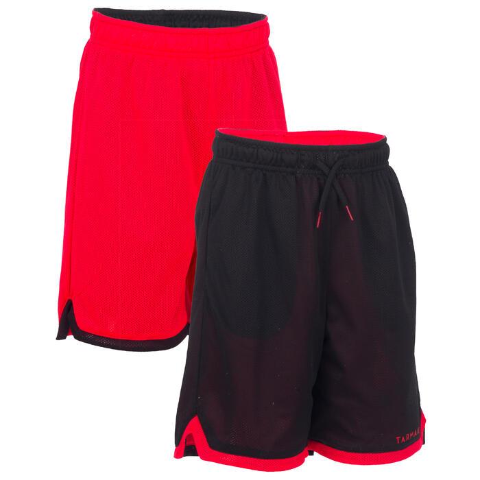Basketballshorts Wendeshorts Jungen/Mädchen Fortgeschrittene schwarz/rot EU