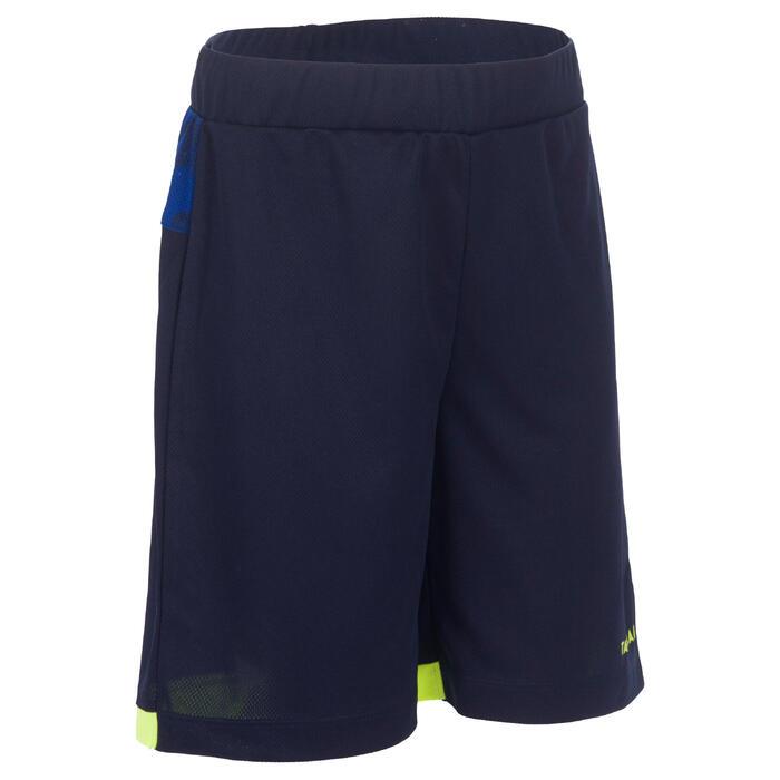 Basketballshorts B500 Jungen/Mädchen Fortgeschrittene dunkelblau/gelb