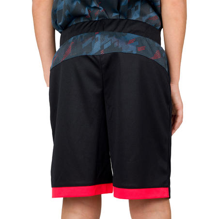 B500 Kids' Basketball Shorts For Intermediate Players - Black/Digital Grey