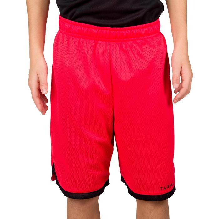 Pantalón Reversible Baloncesto Tarmak SH500R Niños Corto Negro Rojo