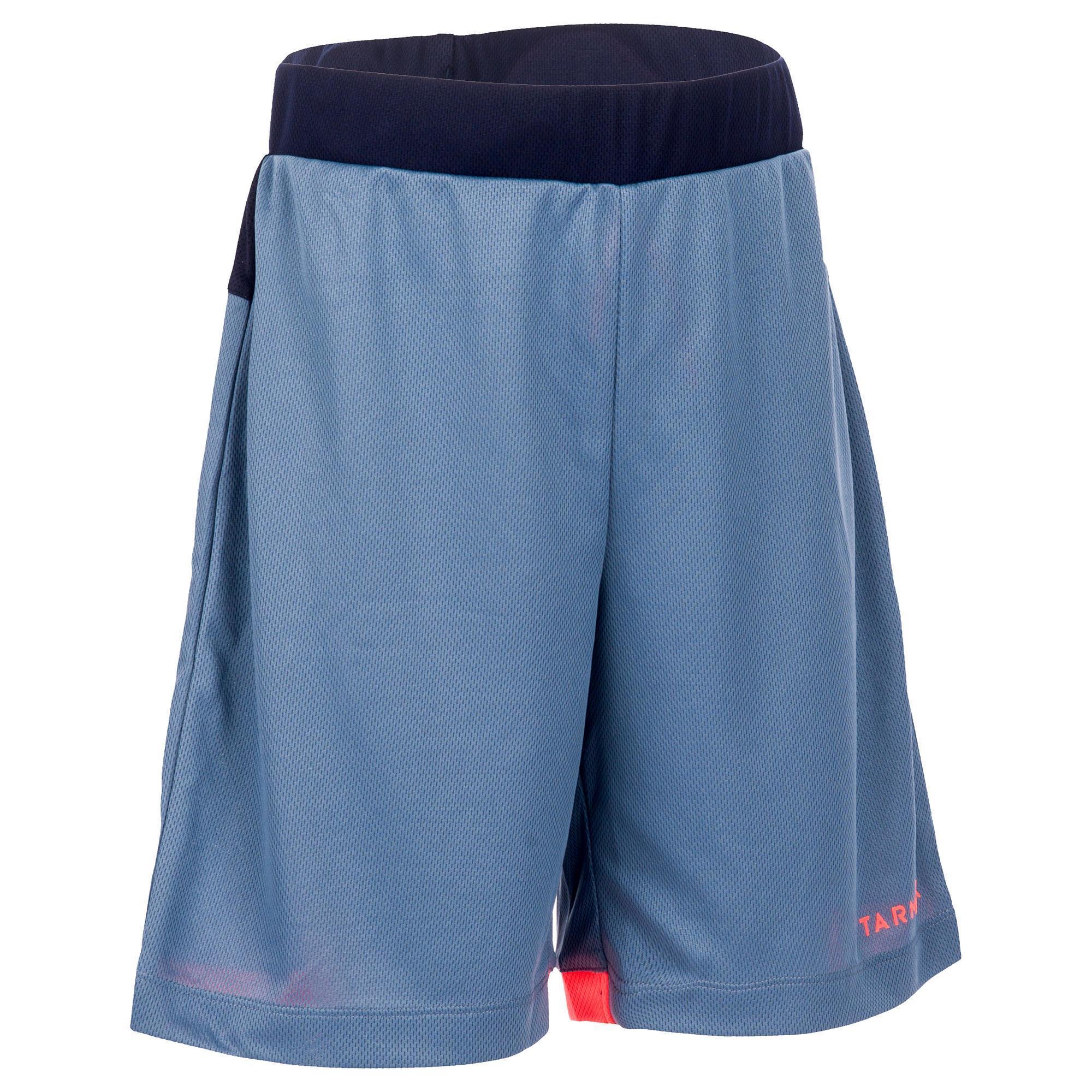 Basketballshorts B500 Jungen/Mädchen Fortgeschrittene grau/dunkelblau/rosa   Sportbekleidung > Sporthosen > Basketballshorts   Tarmak