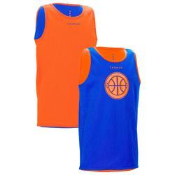 兒童籃球雙面短褲初學者/玩家 藍色/橘色 球