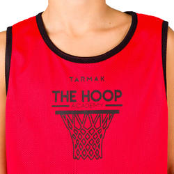 Boys'/Girls' Basketball Reversible Tank Top - Beginner/Advanced - Red/Black Hoop