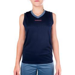 Basketbalshirt B500 voor halfgevorderde jongens/meisjes marineblauw grijs roze