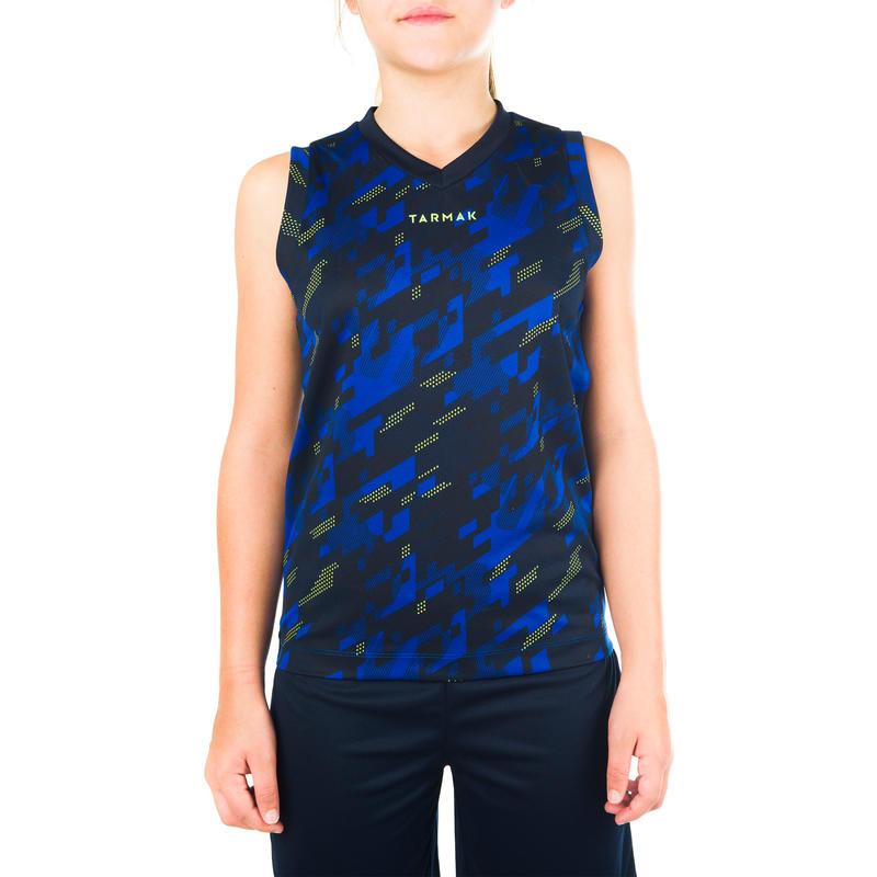 เสื้อกล้ามบาสเก็ตบอลของเด็กผู้ชายหรือเด็กผู้หญิงรุ่น B500 สำหรับผู้เล่นมือใหม่/ขั้นสูง (สีน้ำเงิน/กรมท่า)