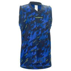 Basketbalshirt B500 voor halfgevorderde jongens/meisjes digital blauw marine