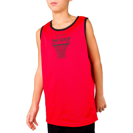 Boys'/Girls' Intermediate Reversible Basketball Tank Top - Red/Black Hoop