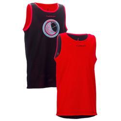 兒童籃球雙面背心上衣- 初學者/玩家 - 紅色/黑色 球