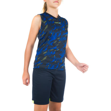 B500 Boys'/Girls' Intermediate Basketball Tank Top - Digital Blue/Navy