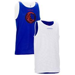Omkeerbaar basketbalshirt voor halfgevorderde jongens/meisjes blauw wit