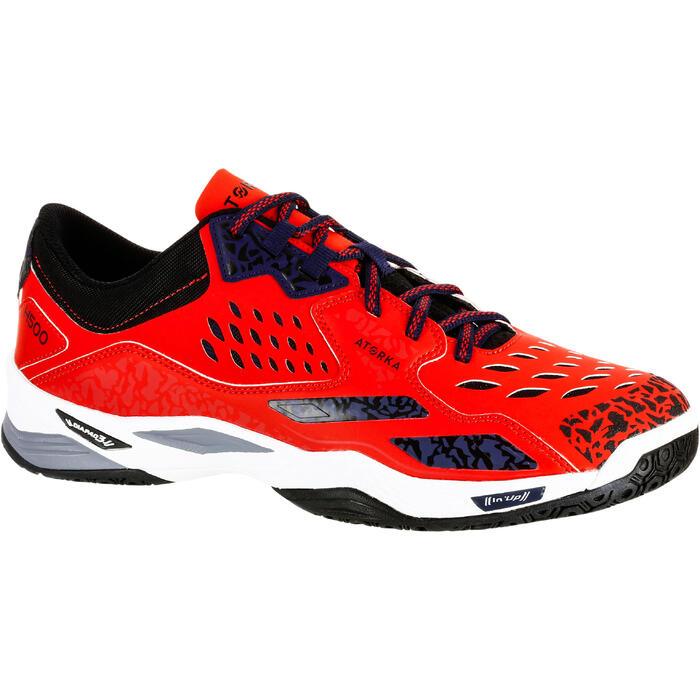 Chaussures de Handball H500 adulte noires et rouges - 1325457