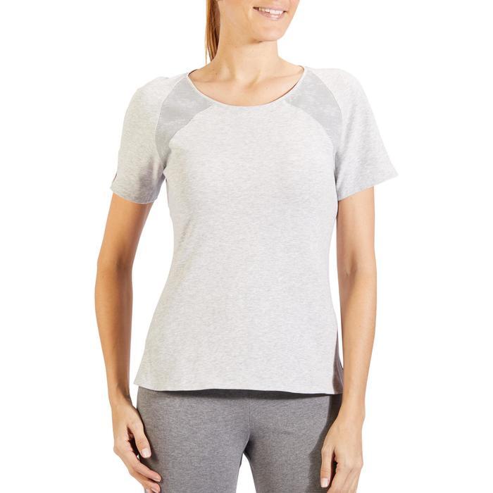 T-Shirt 520 manches courtes Gym & Pilates femme gris chiné clair - 1325509