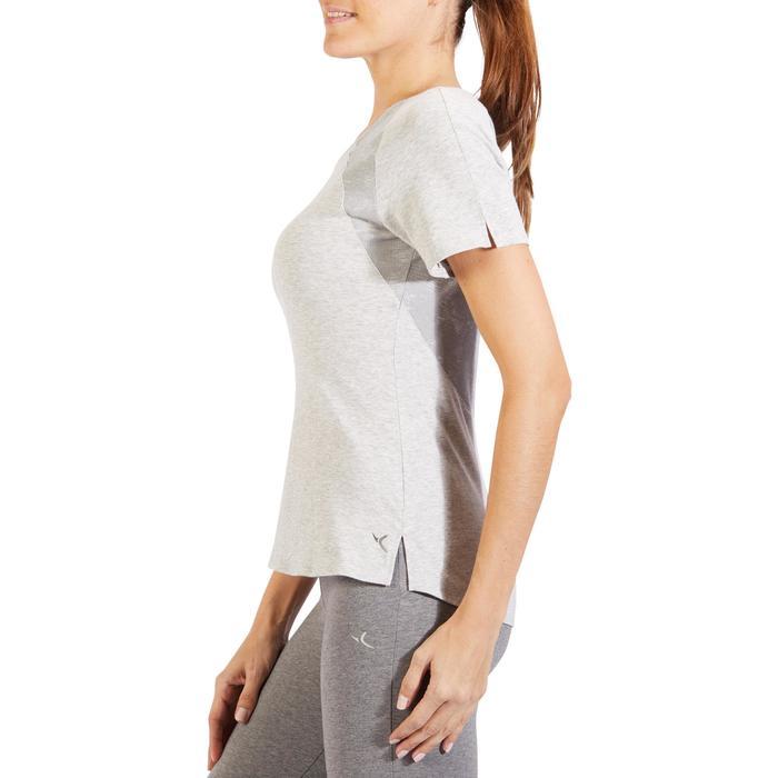 T-Shirt 520 manches courtes Gym & Pilates femme gris chiné clair - 1325510