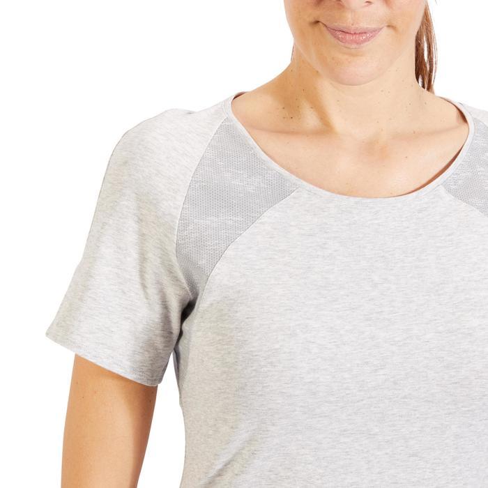 T-Shirt 520 manches courtes Gym & Pilates femme gris chiné clair - 1325511