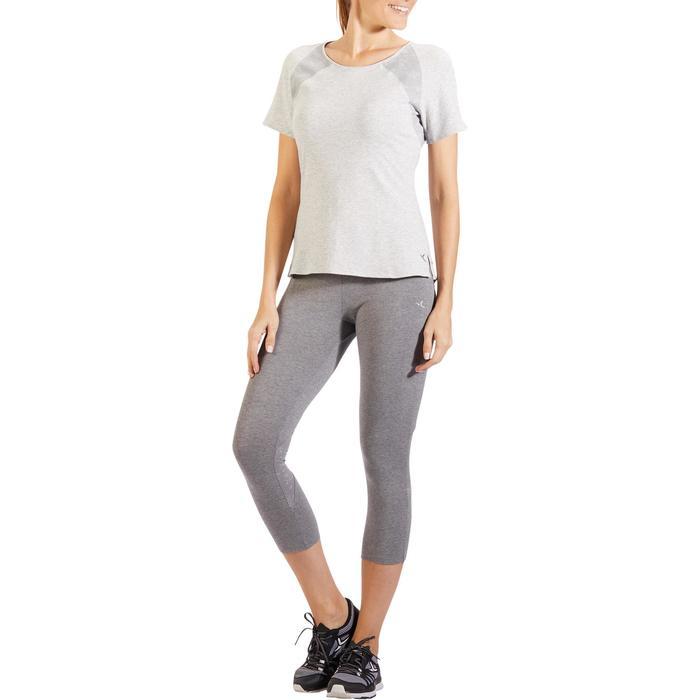 T-Shirt 520 manches courtes Gym & Pilates femme gris chiné clair - 1325512