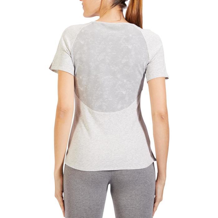 T-Shirt 520 manches courtes Gym & Pilates femme gris chiné clair - 1325513