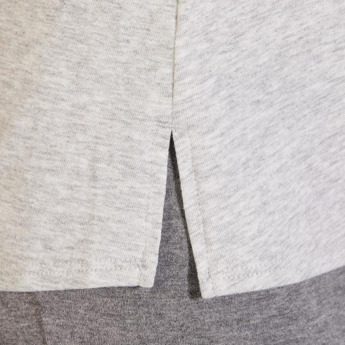 T-Shirt 520 manches courtes Gym & Pilates femme gris chiné clair - 1325516
