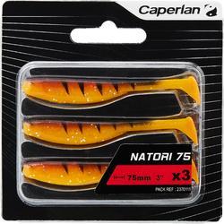 Softbaits voor kunstaasvissen Natori 75 oranje tiger 3 stuks