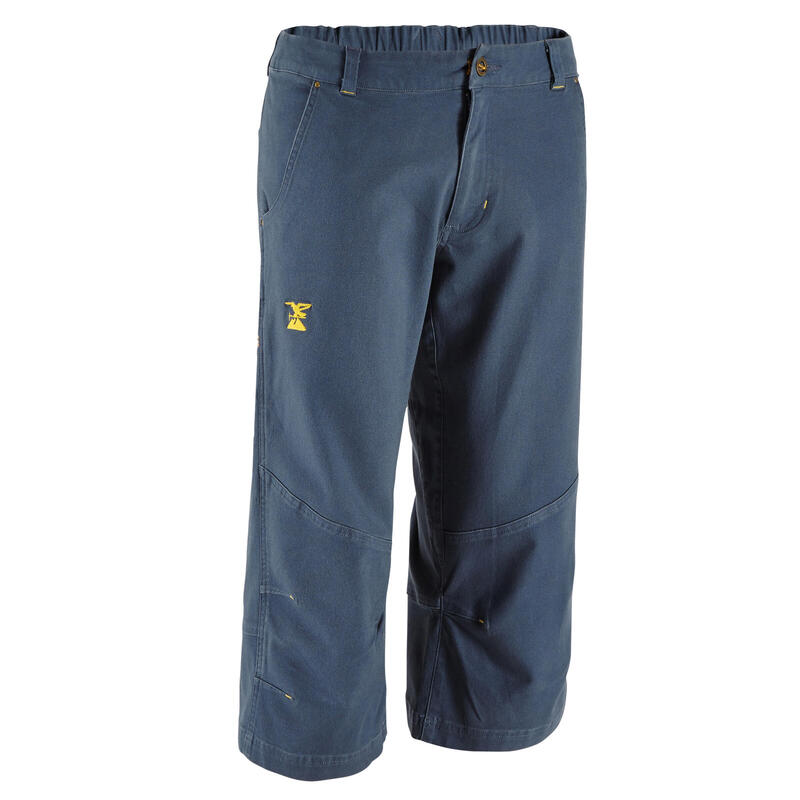 MEN'S 3/4 STRETCH CLIMBING TROUSERS ORGANIC COTTON - COLOUR GREY
