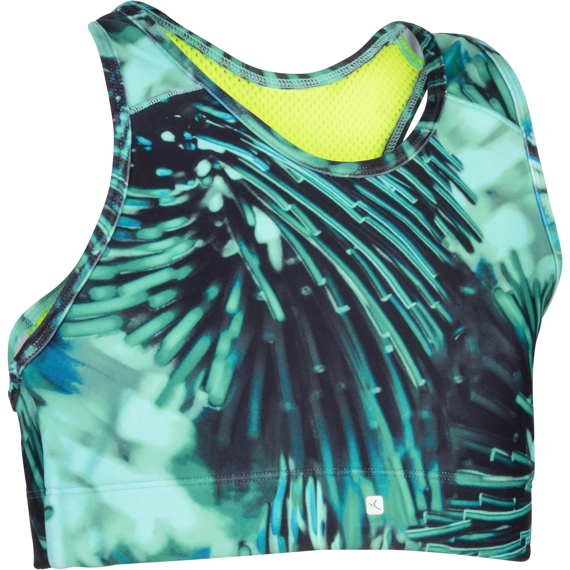Brassiere-top 960 gimnasia niña estampado azul verde