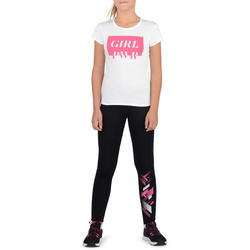 500 Girls' Printed Gym Leggings - Black