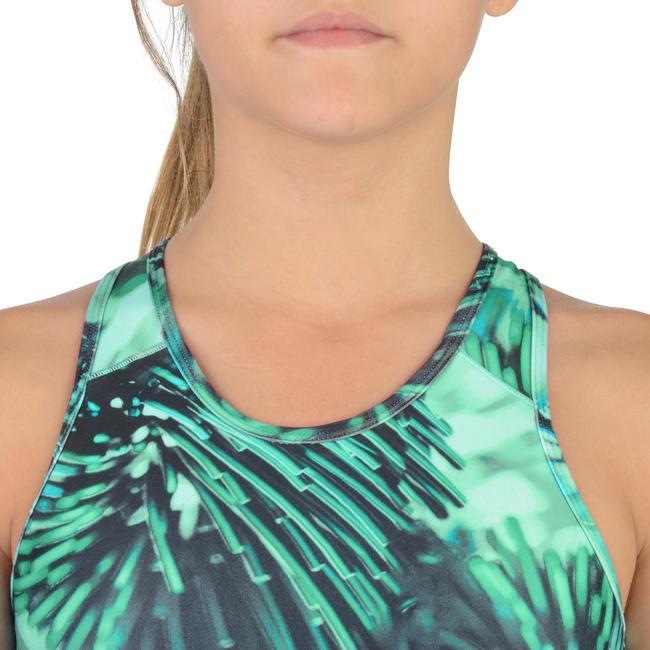 S900 Girls' Printed Gym Crop Top - Blue/Green