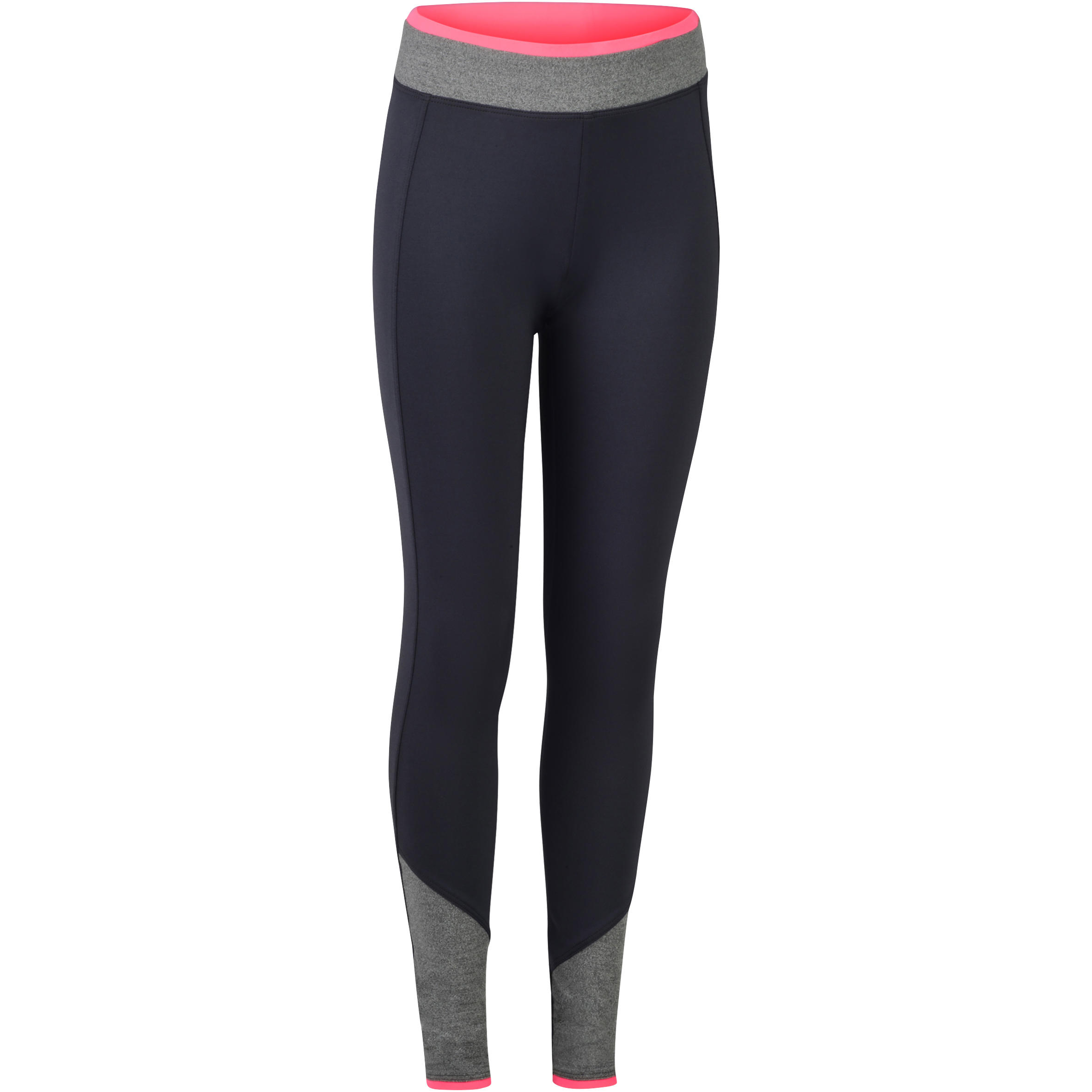 S500 Girls' Gym Leggings - Grey/Pink