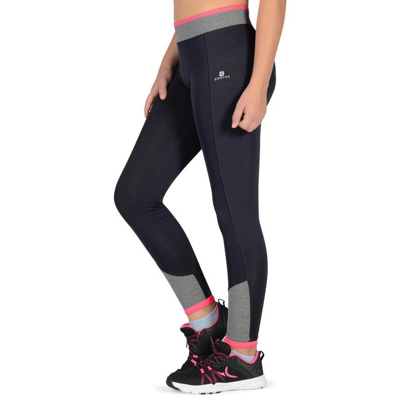 Leggings S500 Gimnasia Nina Gris Rosa Domyos By Decathlon