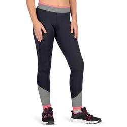 S500 Girls' Gym Leggings - Grey/Pink