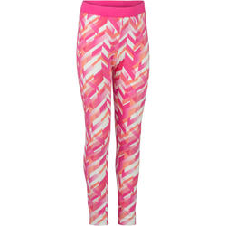 Legging 500 gym fille imprimé rose