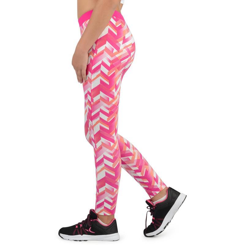Leggings De Ginastica Menina 500 Estampado Rosa Domyos By Decathlon