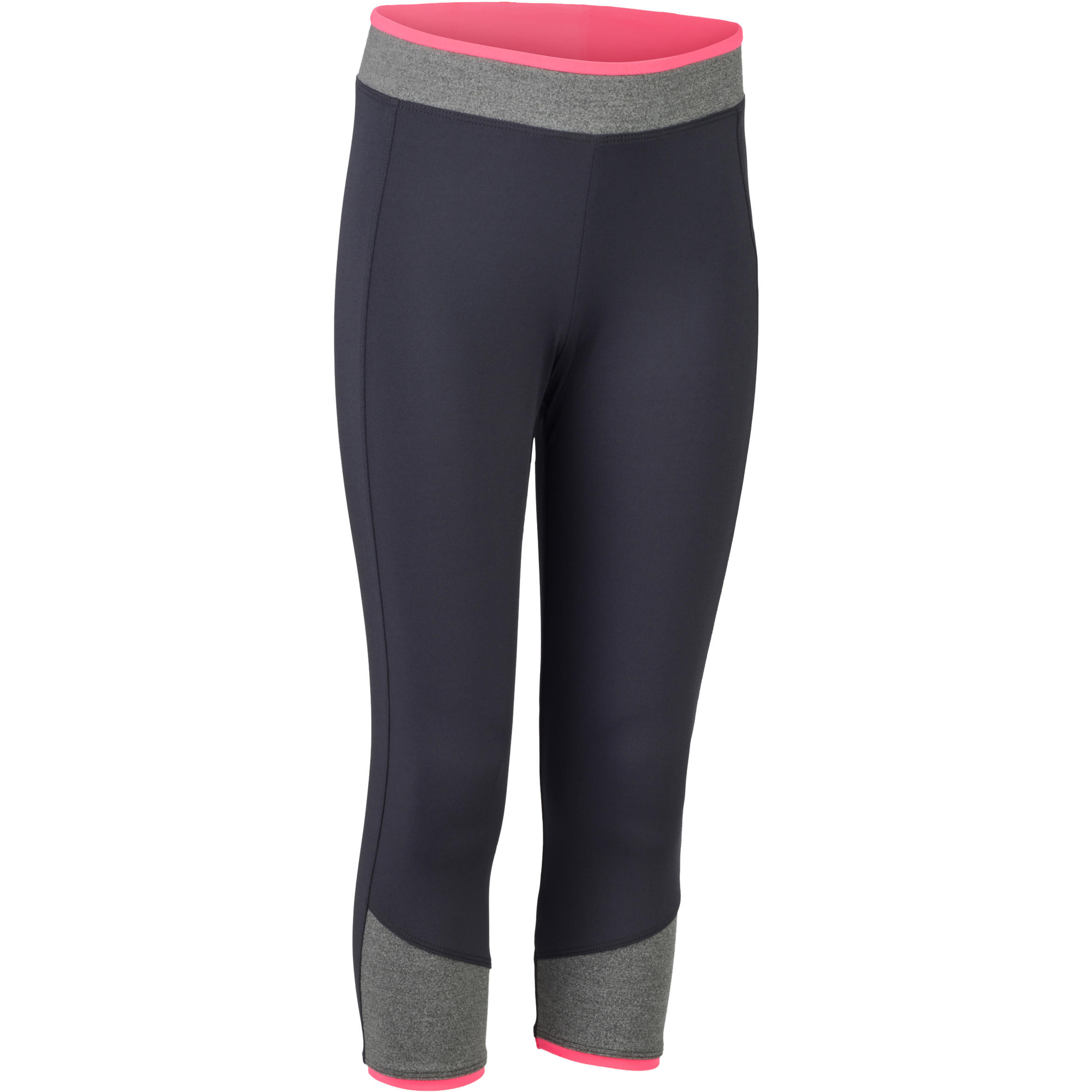 S500 Girls' Gym Cropped Bottoms - Grey/Pink