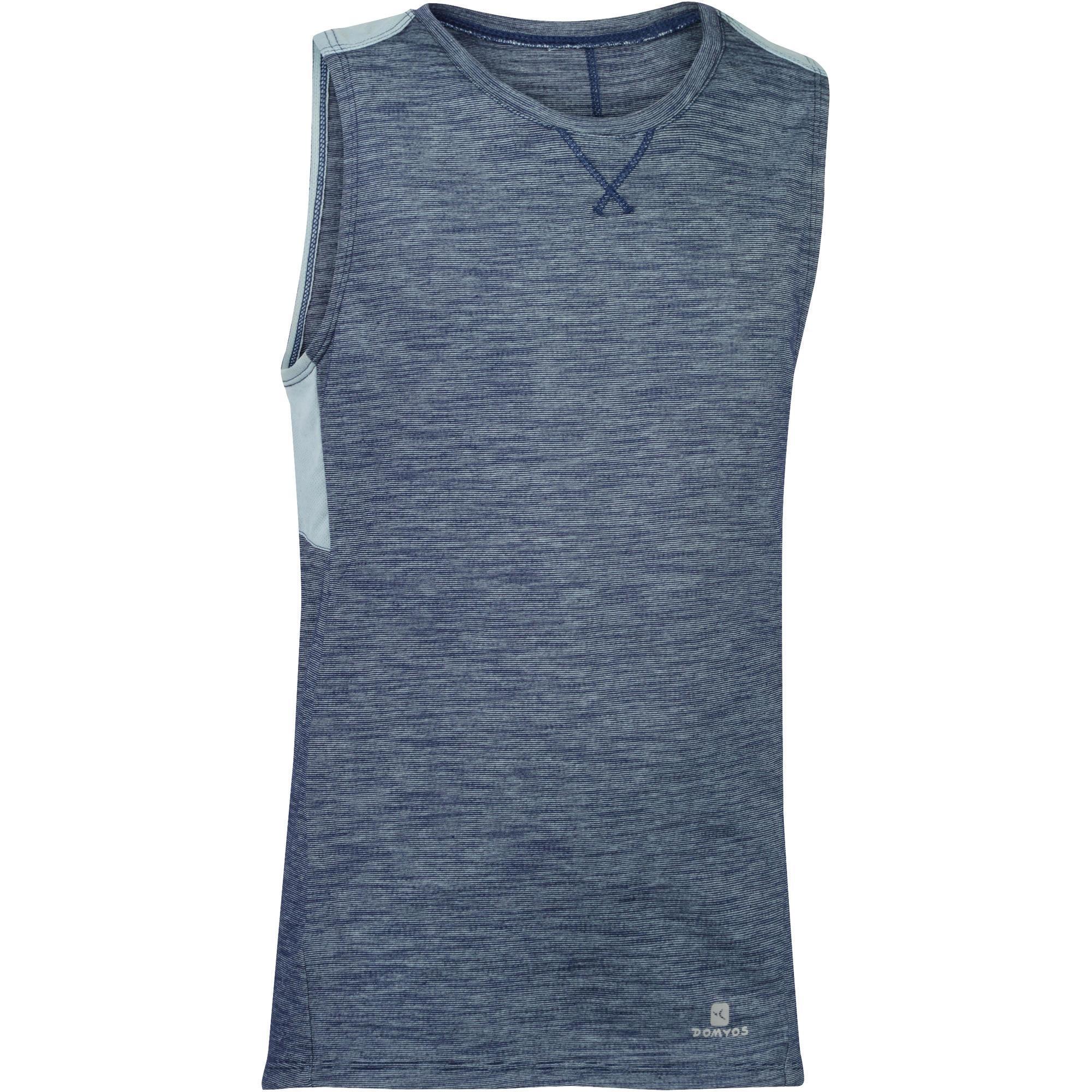 Domyos Mouwloos gymshirt 500 voor jongens grijs
