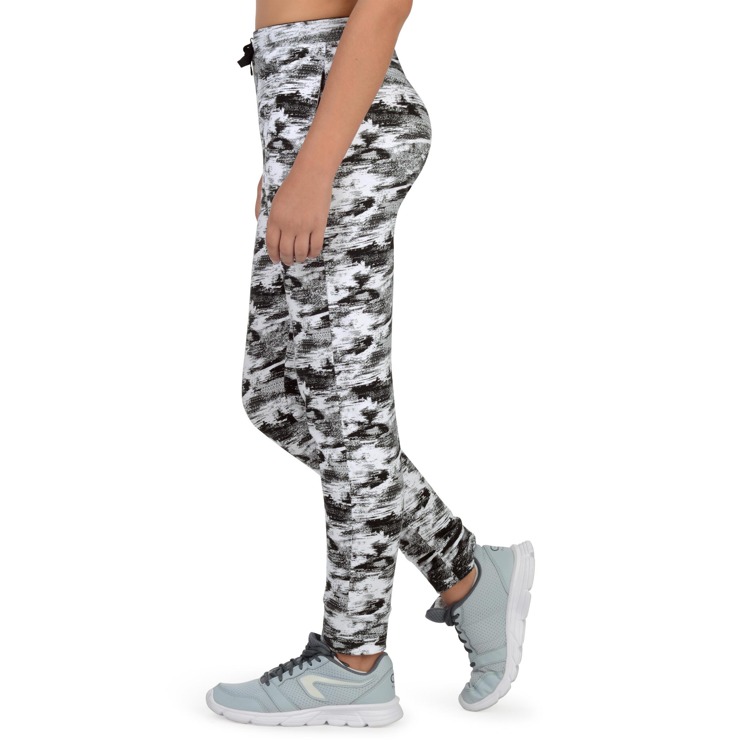 Pantalon Fille Imprimé Blanc 500 Noir Gym Léger dCorBWxe