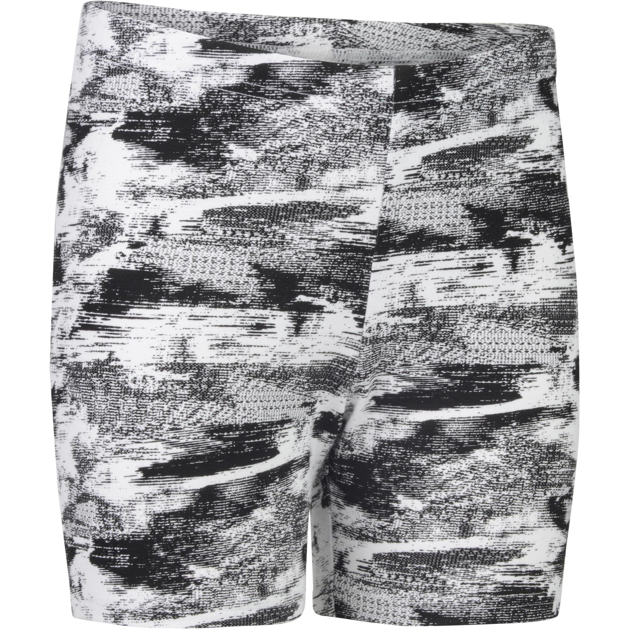 Domyos Gymshort 100 voor meisjes print wit zwart