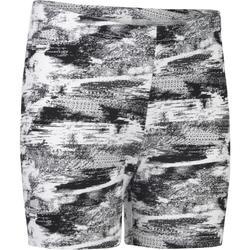 Gymshort 100 voor meisjes print wit zwart