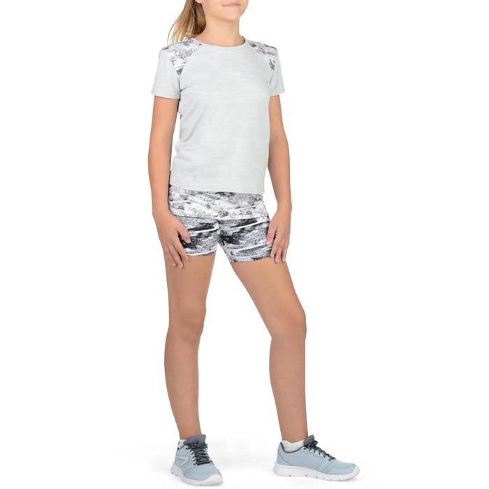 Sporthose kurz 100 Gym Kinder Print weiß/schwarz