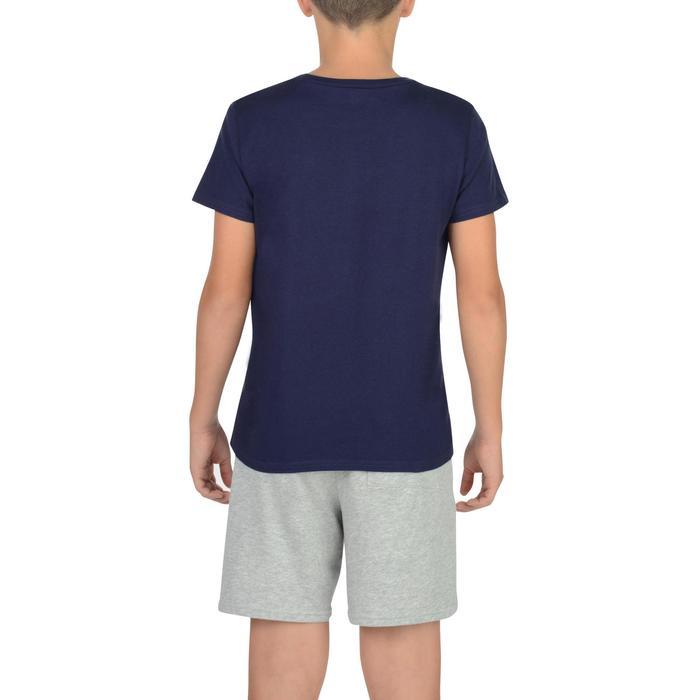Camiseta de manga corta 100 gimnasia azul estampado