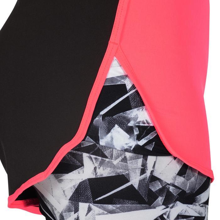 Sporthose kurz W900 Gym Kinder schwarz/rosa mit Print