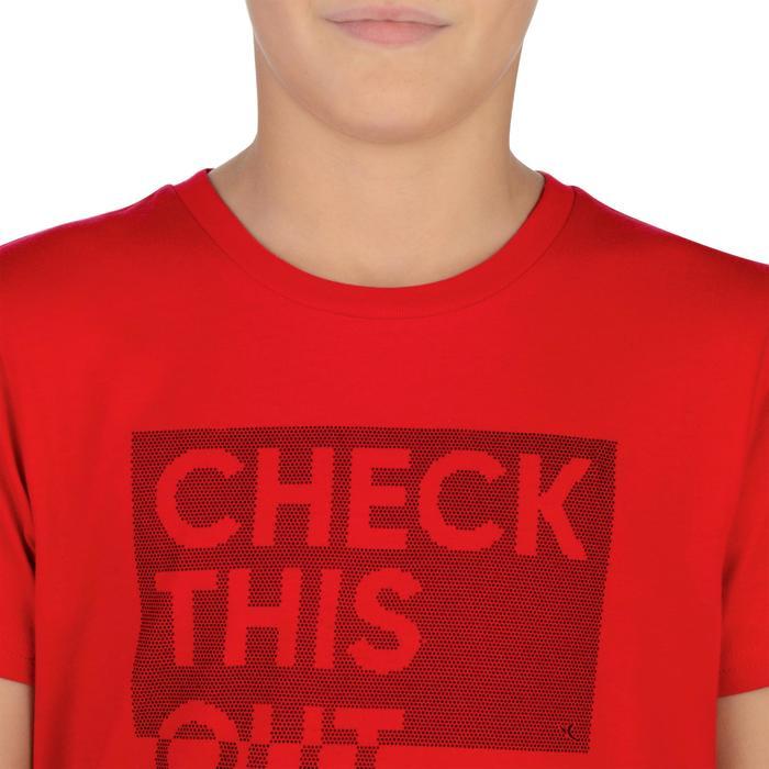 Camiseta de manga corta 100 gimnasia Niños rojo estampado