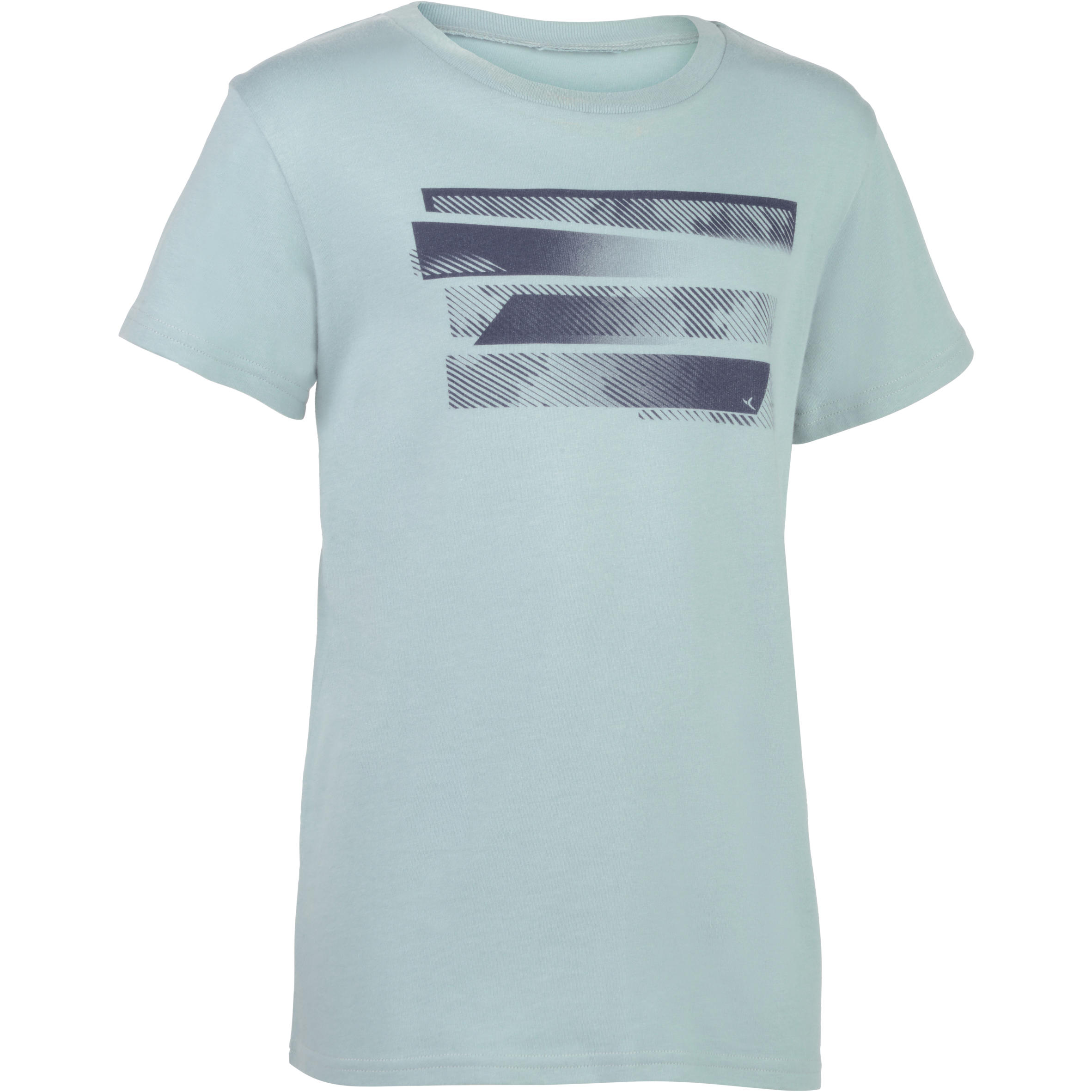 100 Boys' Gym Short-Sleeved T-Shirt - Grey Print