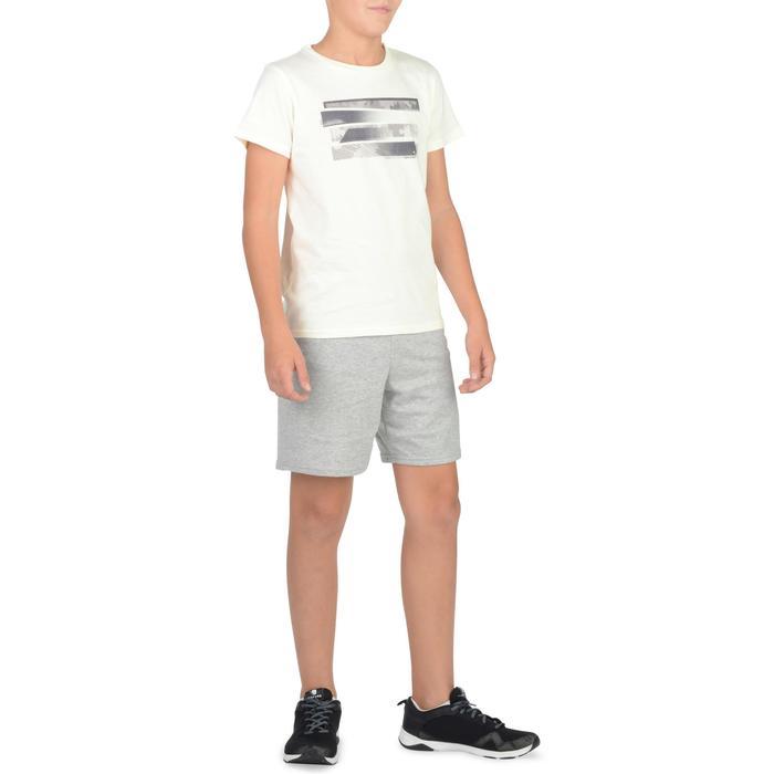 Gym T-shirt 100 met korte mouwen voor jongens wit met opdruk