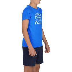 100 Boys' Short-Sleeved Gym T-Shirt - Blue Print