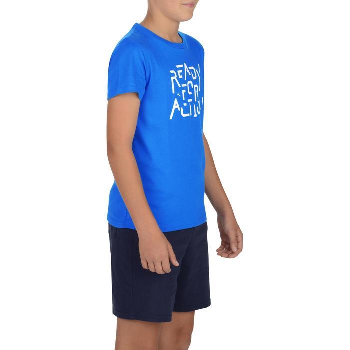 Camiseta de manga corta 100 gimnasia niños azul estampado