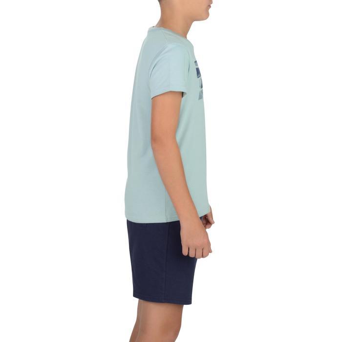 Gym T-shirt 100 met korte mouwen voor jongens grijs met opdruk