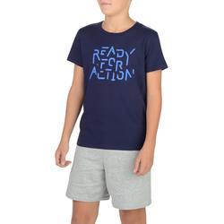 Camiseta Manga Corta Deportiva Gimnasia Domyos 100 Niño Azul Estampado