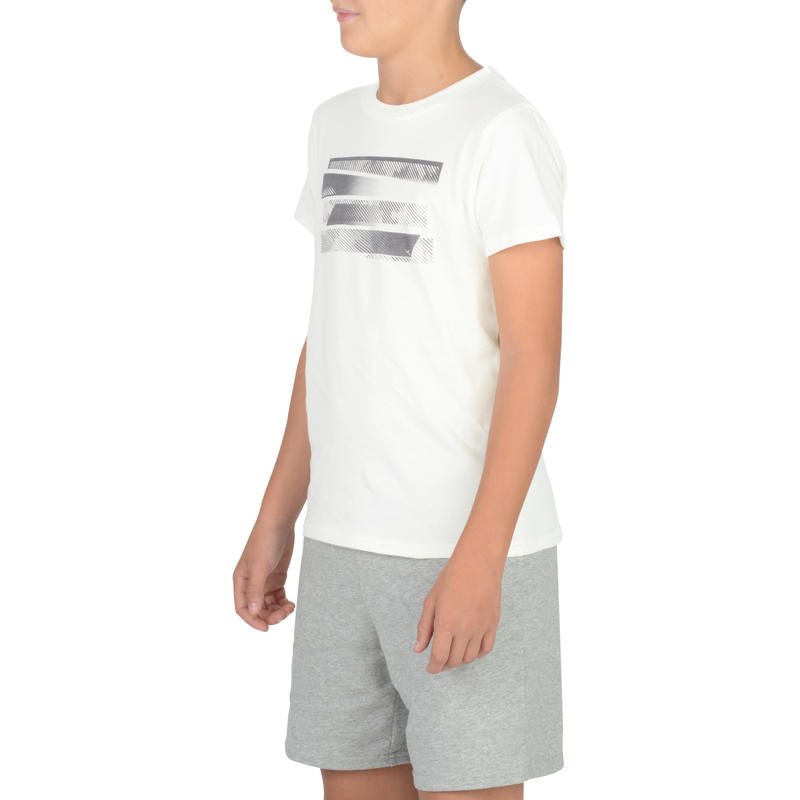 100 Boys' Short-Sleeved Gym T-Shirt - White Print